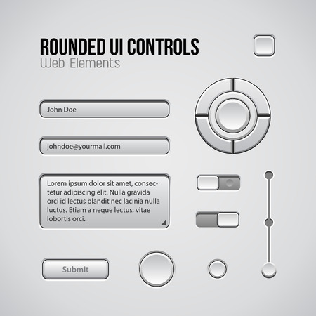 player controls: Web UI Controls Design Elements: Buttons, Switchers, On, Off, Player, Audio, Video: Play, Stop, Next, Pause, Volume, Equalizer, Knobs, Navigation Bar, Progress Bar, Search, Input, Text Box, Joystick Illustration