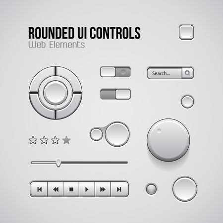 navigation object: Web UI Controls Design Elements: Buttons, Switchers, On, Off, Player, Audio, Video: Play, Stop, Next, Pause, Volume, Equalizer, Knobs, Joystick, Navigation Bar, Progress Bar, Search, Rating