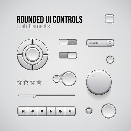 player controls: Web UI Controls Elementos de dise�o: botones, conmutadores, On, Off, DVD, Audio, Video: Play, Stop, Siguiente, pausa, volumen, ecualizador, Perillas, palanca de mando, la barra de navegaci�n, barra de progreso, Buscar, Clasificaci�n