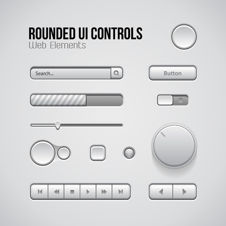 player controls: Web UI Controls Design Elements: Buttons, Switchers, On, Off, Player, Audio, Video: Play, Stop, Next, Pause, Volume, Equalizer, Knobs, Navigation Bar, Progress Bar, Search, Drop-down