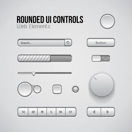 player controls: Web UI Controls Elementos de dise�o: botones, conmutadores, On, Off, DVD, Audio, Video: Play, Stop, Siguiente, pausa, volumen, ecualizador, Perillas, barra de navegaci�n, barra de progreso, Buscar, desplegable