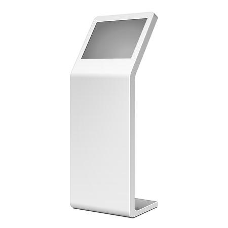 3D 야외 흰색 금속 광고 흰색 배경에 서. 그림 흰색 배경에 고립입니다. 벡터 EPS10