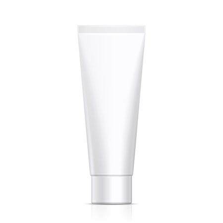 Mock Up Tube Of Cream Or Gel Grayscale White Clean. Ready For Your Design. Product Packing Vector EPS10