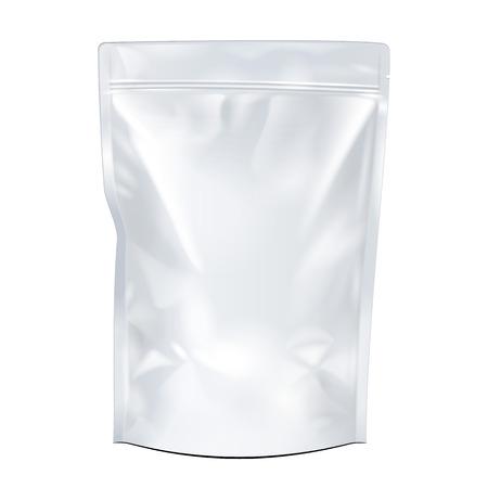 Bianco Mock Up Foil Blank cibo o bevande Doypack Bag Packaging. Plastica Pacchetto Modello pronto per la progettazione. Vector EPS10