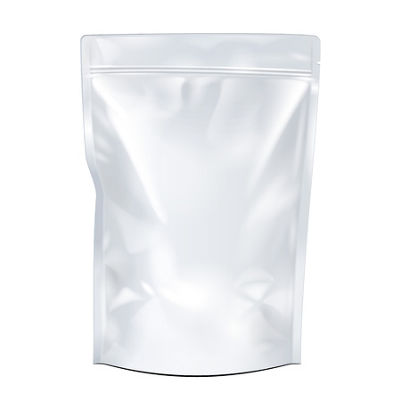 mock up: White Mock Up Blank Foil Food Or Drink Doypack Bag Packaging. Plastic Pack Template Ready For Your Design. Vector EPS10