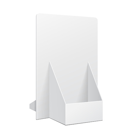 White POS POI Cardboard Blank Empty Show Box Holder For Advertising Fliers, Leaflets Or Products On White Background Isolated. Ready For Your Design. Product Packing. Vector EPS10 Ilustração