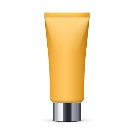 orenge: Tube Of Cream Or Gel Orenge Yellow Clean With Gray Silver Chrome Lid. Ready For Your Design. Product Packing Vector EPS10 Illustration