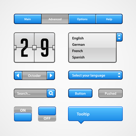 tooltip: Clean Light Blue User Interface Controls. Web Elements. Website, Software UI: Buttons, Switchers, Arrows, Drop-down, Navigation Bar, Menu, Tooltip, Date, Calendar, Search Illustration