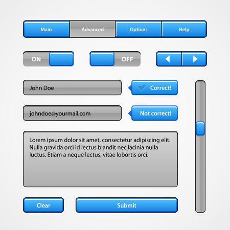 Clean Light Blue User Interface Controls. Web Elements. Website, Software UI: Buttons, Switchers, Arrows, Navigation Bar, Menu, Search, Comments, Scroll, Scrollbar, Input, Text Box Area Illustration