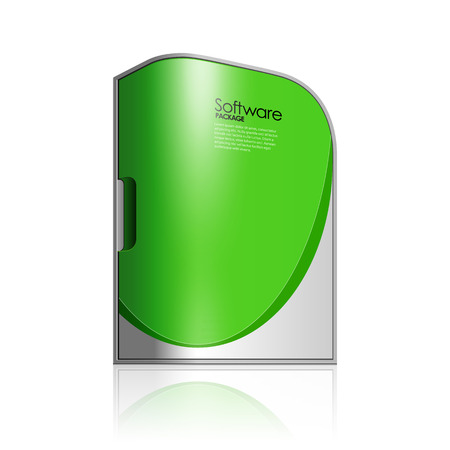 software box: Green Software Box Package With Rounded Corners