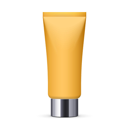 aftershave: Yellow Long Clean Tube Of Cream: Vector Version