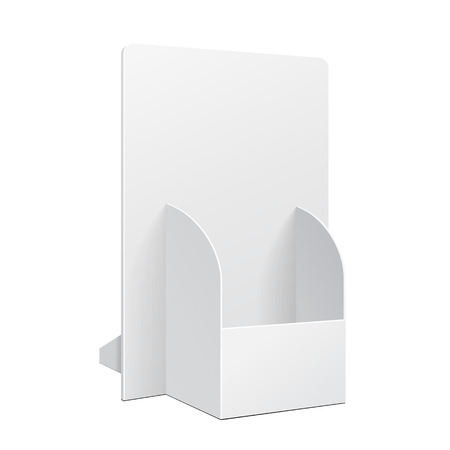 White POS POI Cardboard Blank Empty Show Box Holder For Advertising Fliers, Leaflets Or Products On White Background Isolated. Ready For Your Design. Product Packing. Vector EPS10 Illustration