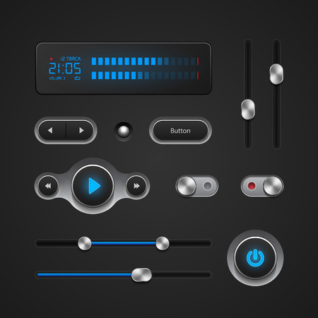 Hi-End User Interface Elements: Buttons, Switchers, On, Off, Player, Audio, Video: Play, Stop, Next, Pause, Volume, Equalizer, Power, Screen, Track Illustration
