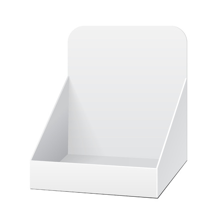 White Holder Box POS POI Cardboard Blank Empty Displays Products On White Background Isolated. Ready For Your Design. Product Packing. Vector EPS10 Illustration