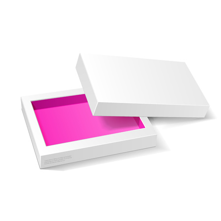 packaging box: Opened White Pink Violet Cardboard Package Mock Up Box. Gift Candy. On White Background Isolated. Ready For Your Design. Product Packing Vector EPS10