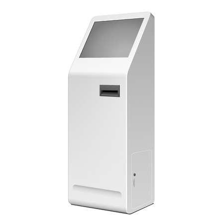 automated: 3D Outdoor White Metal ATM, Automated Teller Machine, Payment Terminal, Advertising Stand On White Background. Illustration Isolated On White Background. Vector EPS10 Illustration