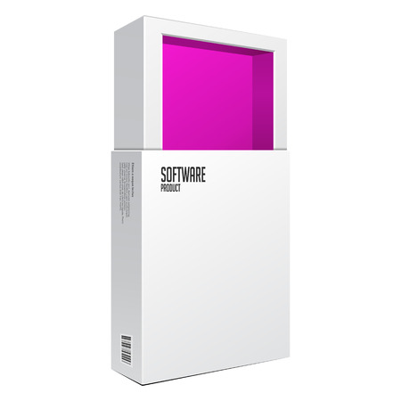 software package: Opened White Modern Software Package Box Pink Inside For DVD, CD Disk Or Other Your Product EPS10