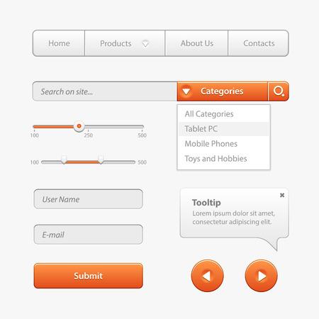 software: Orange Light User Interface Controls. Web Elements. Website, Software UI: Navigation Bar, Input Search, Progress Bar