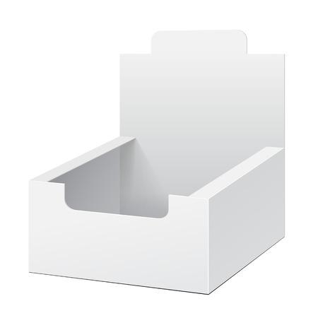 boite carton: Blanc Holder Box POS POI en carton vides Affiche vide Produits sur fond blanc isol�. Pr�t pour votre conception. Emballage du produit. Vector EPS10 Illustration