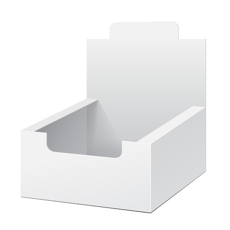 display: White Holder Box POS POI Cardboard Blank Empty Displays Products On White Background Isolated. Ready For Your Design. Product Packing. Vector EPS10 Illustration