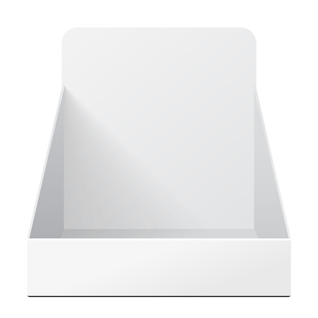 White Holder Box POS POI Cardboard Blank Empty Displays Products On White Background Isolated. Ready For Your Design. Product Packing. Vector EPS10 Vettoriali