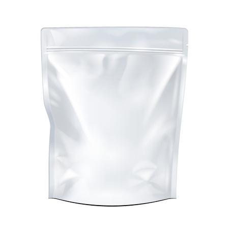 kunststoff: Weiß Mock Up Blank Foil Essen oder Trinken Doypack Beutel Verpackung. Kunststoff-Pack-Vorlage bereit für Ihr Design. Vektor-EPS10