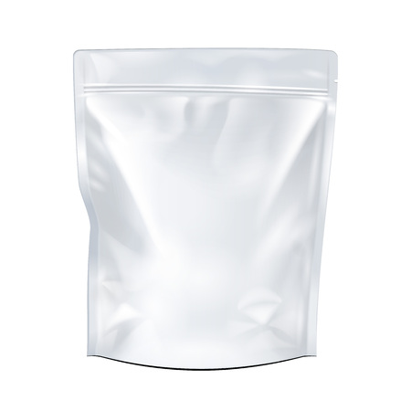 white paper bag: White Mock Up Blank Foil Food Or Drink Doypack Bag Packaging. Plastic Pack Template Ready For Your Design. Vector EPS10