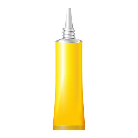 tacky: Yellow Tube Of Super Glue. Products On White Background Isolated. Ready For Your Design. Product Packing. Vector EPS10 Illustration