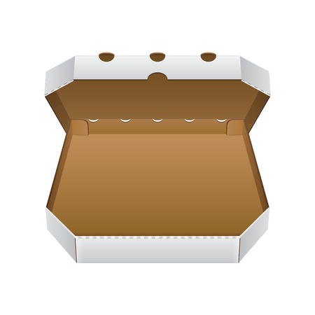 brown box: Open White, Brown Blank Carton Pizza Box. Ready For Your Design. Product Packing Vector EPS10