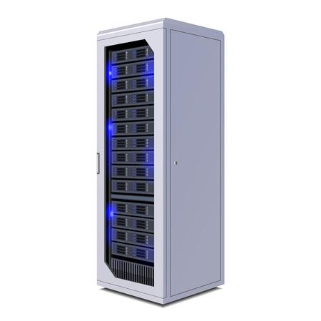 通信ラック、サーバー、ハードウェア、インターネット データ センター。白い背景で隔離の図。ベクトル EPS10