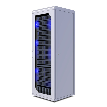 Telecommunication Racks, Server, Hardwares, Internet Data Center. Illustration Isolated On White Background. Vector EPS10