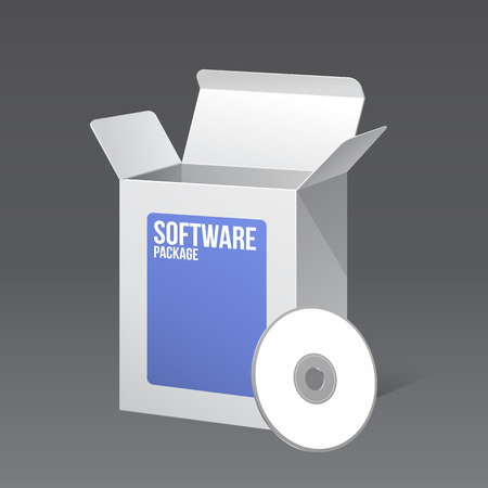 software package: Software Package Carton Blank Box Opened White And Blue With CD Or DVD Disk
