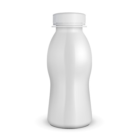 lactose: 3D White Yogurt Milk Plastic Bottle. Products On White Background Isolated. Ready For Your Design. Product Packing. Vector EPS10 Illustration