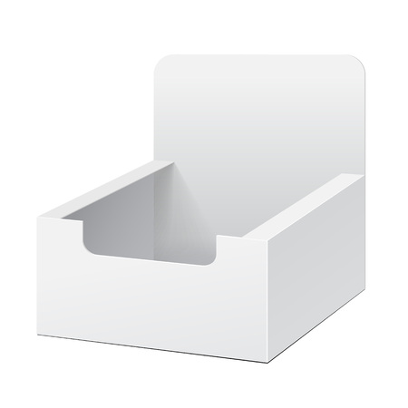White Holder Box POS POI Cardboard Blank Empty Displays Products On White Background Isolated. Ready For Your Design. Product Packing. Vector EPS10 Vectores