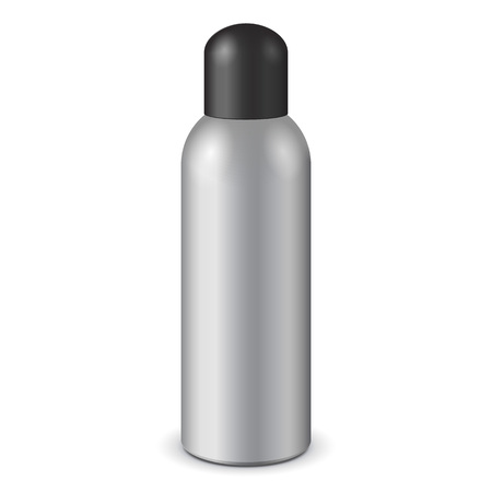 spray paint can: Gray Aerosol Spray Metal Bottle Can With Lid Cap: Paint, Graffiti, Deodorant EPS10