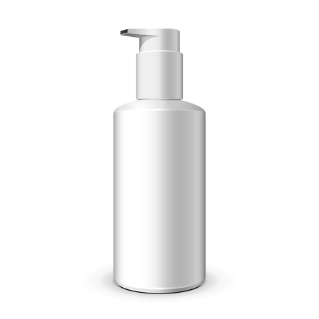 foam: Gel, Foam Or Liquid Soap Dispenser Pump Plastic Bottle White. Ready For Your Design. Product Packing Vector EPS10