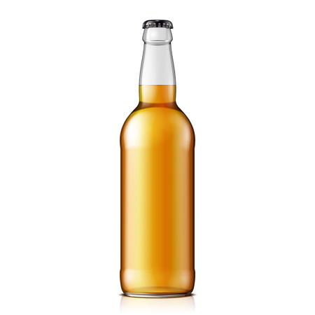 beer bottle: Mock Up Glass Beer Lemonade Cola Clean Bottle Yellow Brown On White Background Isolated. Ready For Your Design. Product Packing. Vector EPS10