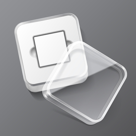 plastic box: Glossy Plastic Box Square With Rounded Corners. Ready For Your Design. Product Packing Vector EPS10