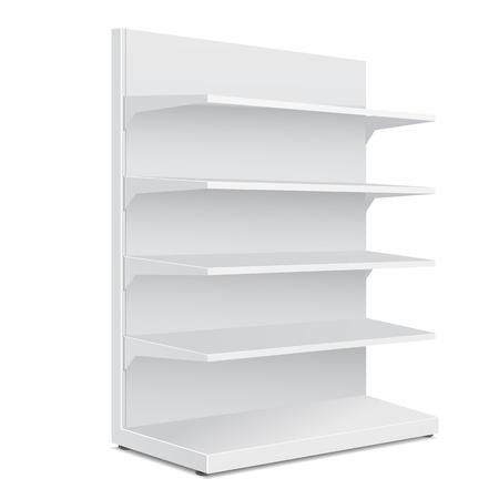 分離した白い背景の上の商品棚に白い長い空白の空のショーケースに表示されます。あなたの設計のために準備ができて。製品の包装。ベクトル EPS1  イラスト・ベクター素材