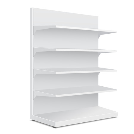 shelves: White Long Blank Empty Showcase Displays With Retail Shelves Products On White Background Isolated. Ready For Your Design. Product Packing. Vector EPS10