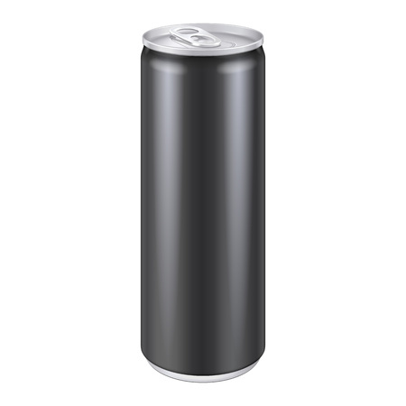 drink can: Black Metal Aluminum Beverage Drink Can 250ml. Ready For Your Design. Product Packing Vector EPS10