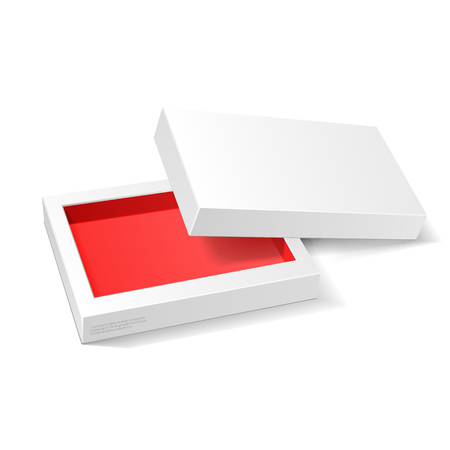 mockup: Opened White Red Cardboard Package Mock Up Box. Gift Candy. On White Background Isolated. Ready For Your Design. Product Packing Vector EPS10