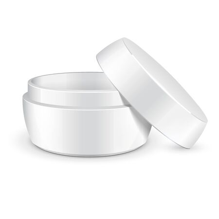 empty jar: Opened Empty Cream, Gel Or Powder, Light White Jar Can Cap Bottle. Blank On White Background Isolated. Ready For Your Design. Product Packing Vector EPS10 Illustration