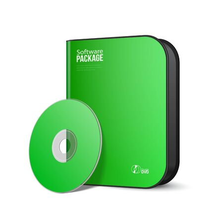 software package: White Green Rounded Modern Software Package Box With DVD, CD Disk Or Other Your Product EPS10