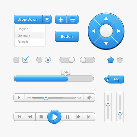 menu buttons: Blue Light User Interface Controls. Web Elements. Website, Software UI: Buttons, Switchers, Drop-down, Navigation Bar, Menu, Check Box, Radio, Scroller, Progress Bar, Volume, Tag, Player, Play Illustration