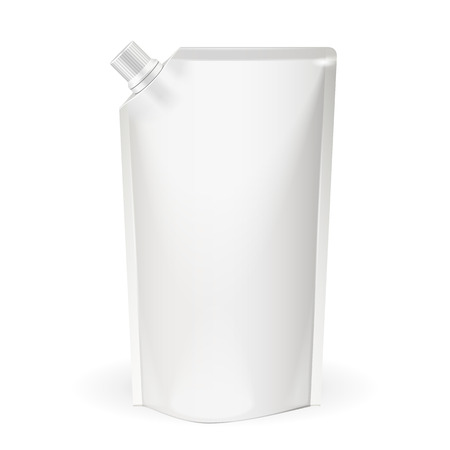 spout: White Blank pack, Foil Food Or Drink Bag Packaging With Spout Lid. Plastic Pack Template Ready For Your Design. Vector EPS10 Illustration