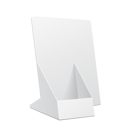 White POS POI Cardboard Blank Empty Show Box Holder For Advertising Fliers, Leaflets Or Products On White Background Isolated. Ready For Your Design. Product Packing. Vector EPS10 Vectores