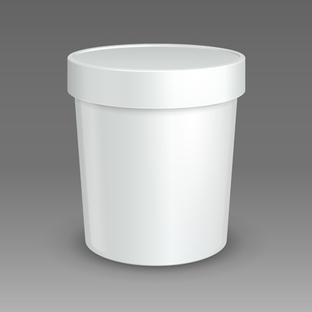 sour: White Mock Up Bucket Tub Food Plastic Container For Dessert, Yogurt, Ice Cream, Sour Cream Or Snack. Ready For Your Design. Product Packing Vector EPS10