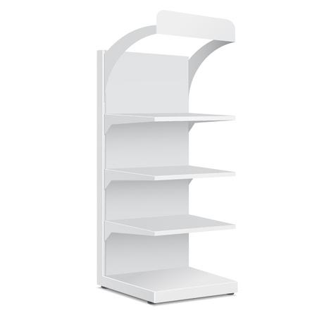 흰색 배경에 소매 선반 제품와 함께 긴 빈 빈 쇼케이스 표시합니다입니다. 디자인을위한 준비. 제품 포장. 벡터 EPS10