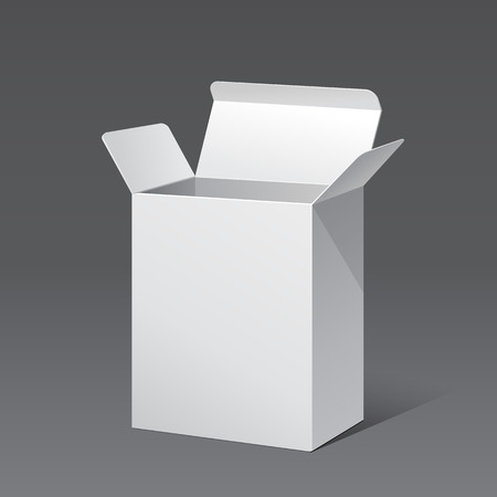 box open: Opened White Modern Software Package Box. Products With Lable On White Background Isolated. Ready For Your Design. Product Packing. Vector EPS10